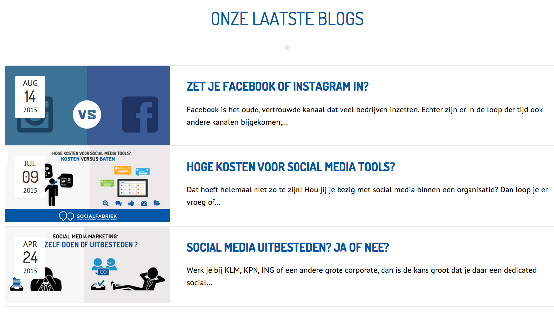 Blogs door Socialfabriek