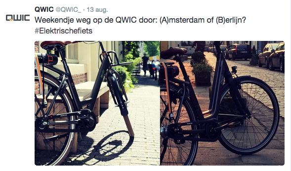 Tweet voor Qwic door Socialfabriek