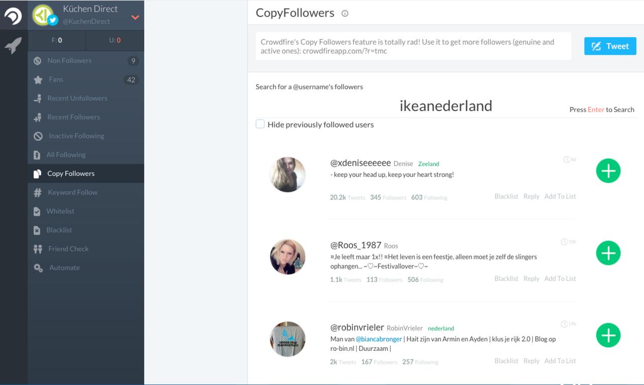 Crowdfire meer volgers Twitter 2