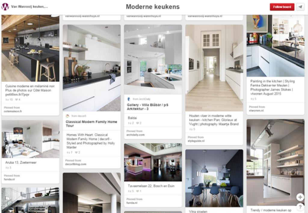Pinterest voorbeeld keukenleverancier
